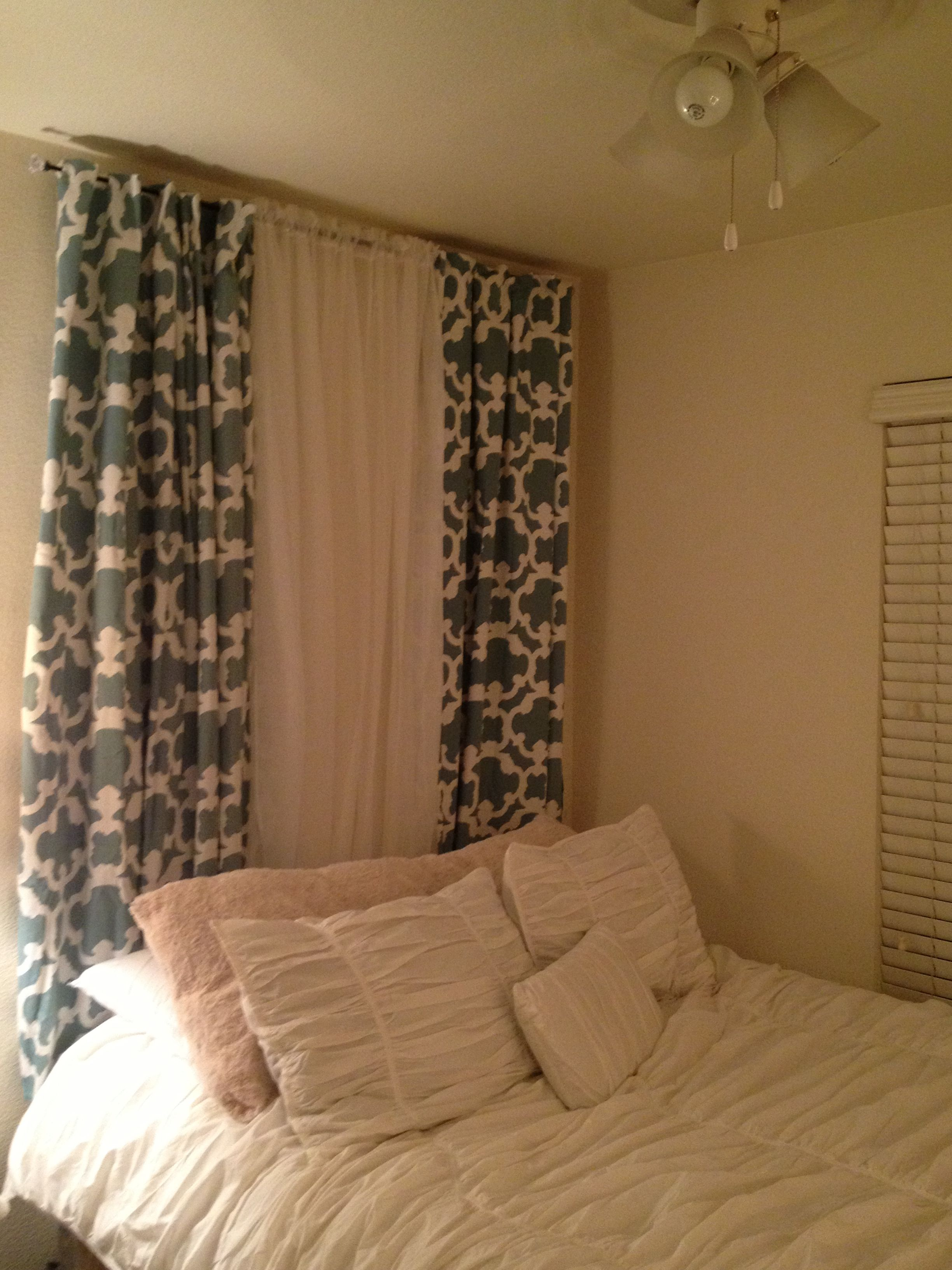 Diy Curtain Headboard Perfect To Add Color If You Cant Paint Your Walls Headboard Curtains Bedroom Diy Bedroom Makeover