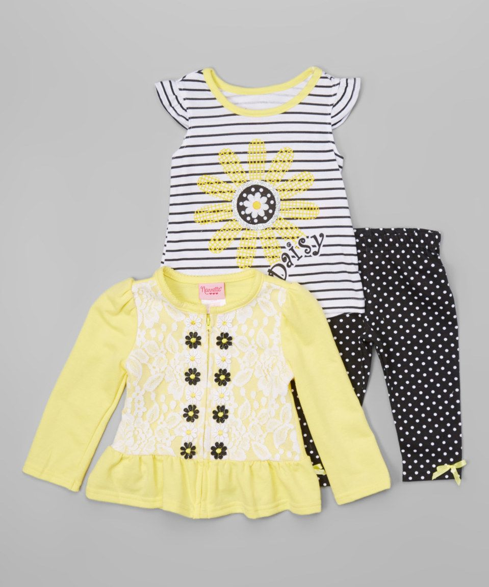 Another great find on #zulily! Yellow Daisy Cardigan Set - Toddler by Nannette Girl #zulilyfinds