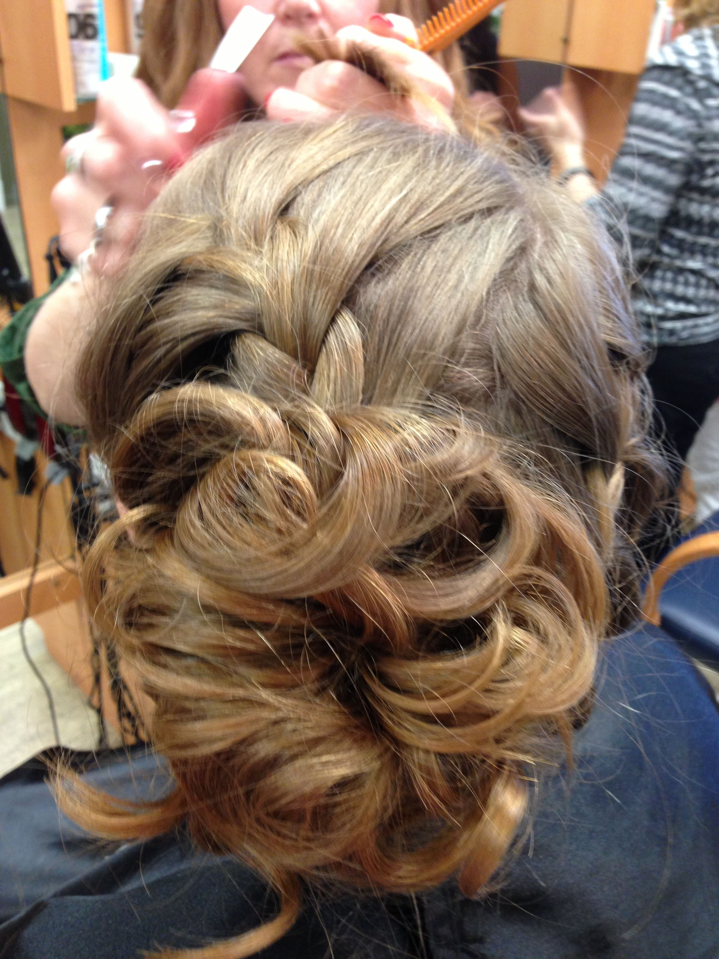 prom hair curly bun with french