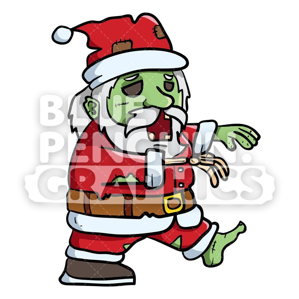 Scary Walking Santa Claus Zombie Vector Cartoon Clipart ...