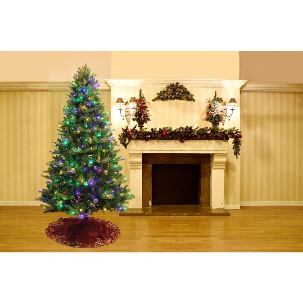 Home Accents Holiday 75 Ft Yukon Spruce Quick Set Artificial Christmas Tree With 500 8 Function LED Lights