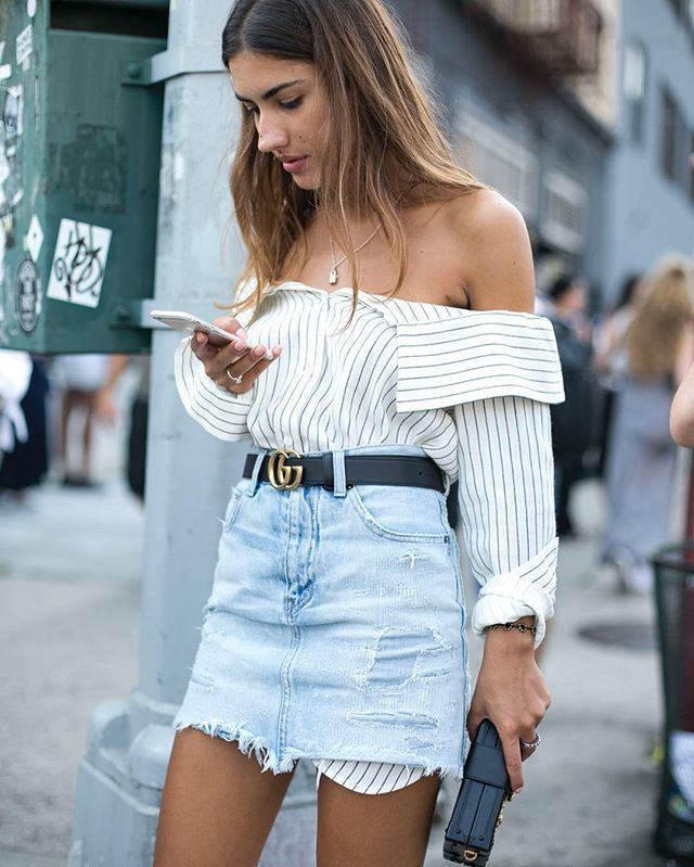 ss tibi off-the-shoulder striped shirt   denim skirt   black belt ...