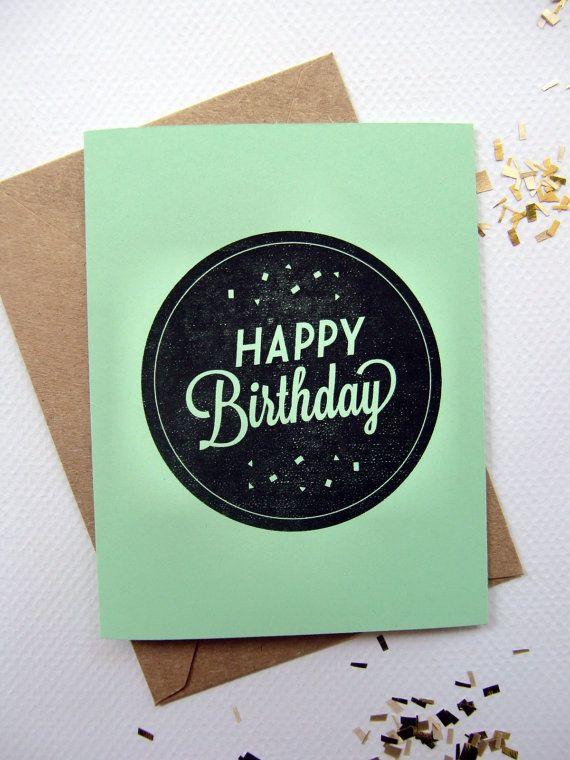 Happy Birthday Card Mint Green With Confetti Seal A2 Etsy Happy Birthday Cards Birthday Cards Happy Birthday