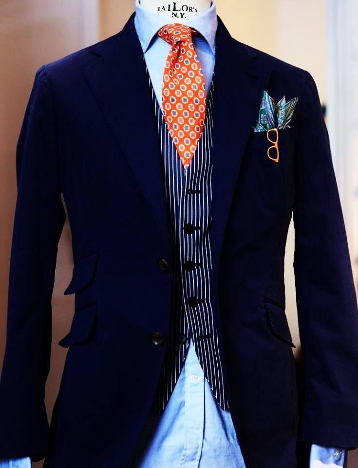 Navy Jacket Navy White Pinstripe Waist Coat Light Blue