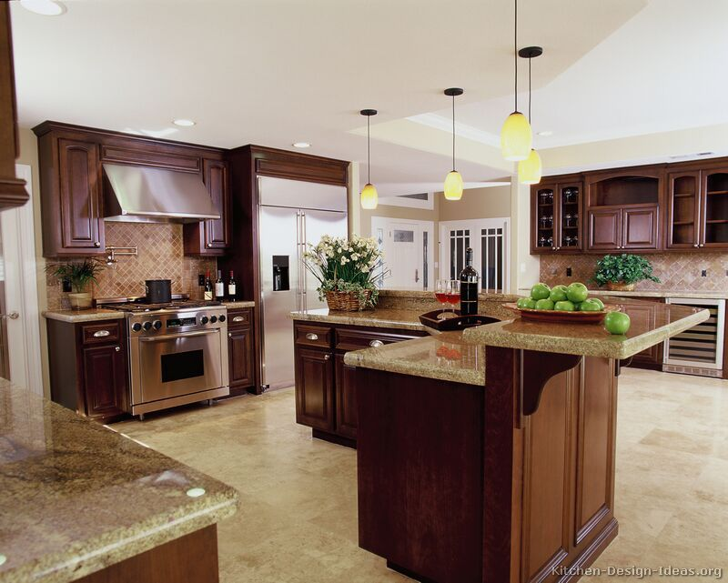 L Shaped Island With 2 Tiers Kitchen Backsplash Designs Kitchen Design Luxury Kitchen Design