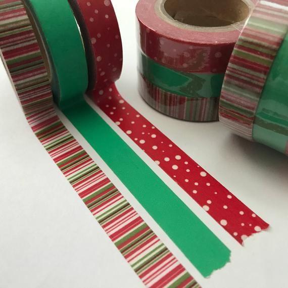 Green stripe 15mm washi tape gift wrap scrapbooking 5M