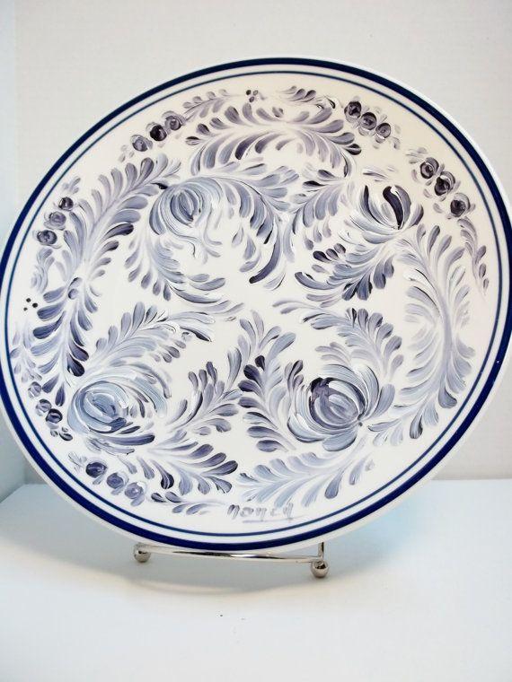 A White Stoneware Plate Hand Painted Scandinavian Design Rosemaling Swedish Norwegian Folk Art Style #P10008  sc 1 st  Pinterest & Stoneware Plate White Hand Painted Design Scandinavian ...