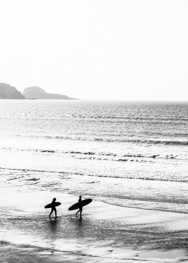 Surfers, Black and White, Beach Photography Art Print by mostlymodernprints
