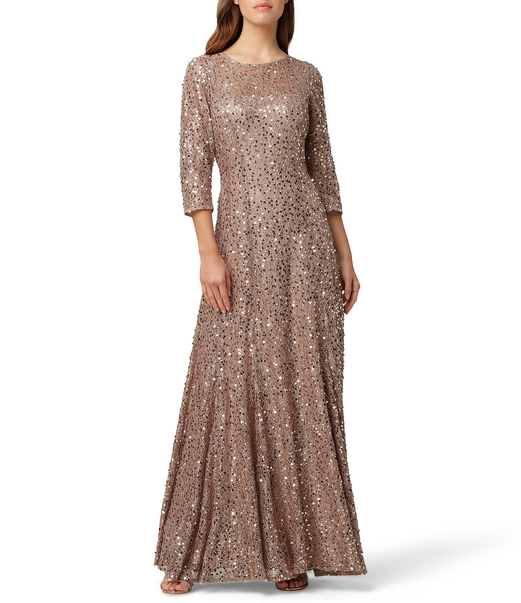 Tahari Asl V Back Sequin Lace A Line Gown Dillard S A Line Gown Gowns Formal Dresses For Women [ 2040 x 1760 Pixel ]