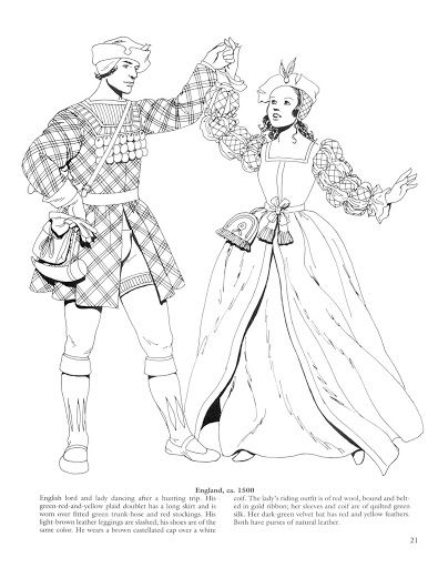 Medieval fashions coloring book 24