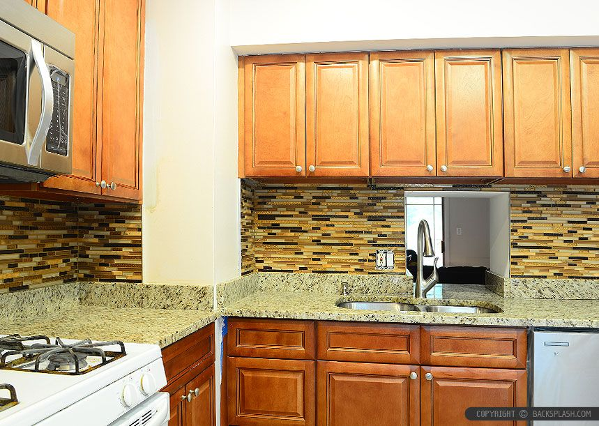 New Venetian Gold Granite Backsplash Ideas Part - 29: Brown Kitchen Cabinets With New Venetian Gold Granite Countertop. Backsplash  Tile Brown Copper Color Marble