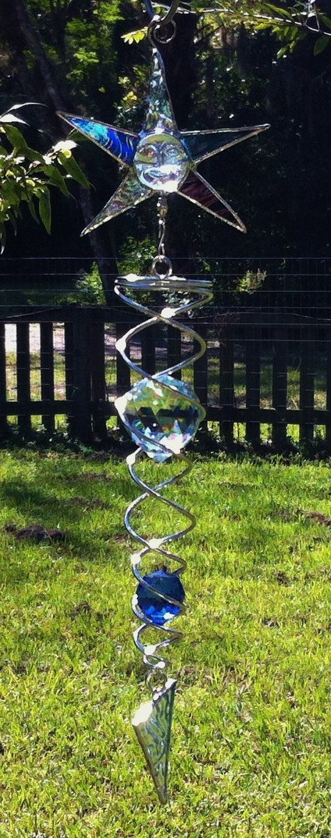 Stained Glass Blue Moon Face Wind Spinner Sun Catcher with Clear and Blue Lead Crystals Beautiful Prisms! on Etsy, $32.99
