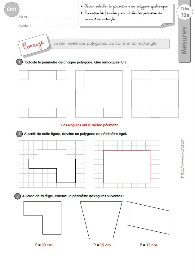 Cm1 exercices calculer le perimetre du carre et du rectangle math pinterest cm1 - Calcul diagonale carre ...