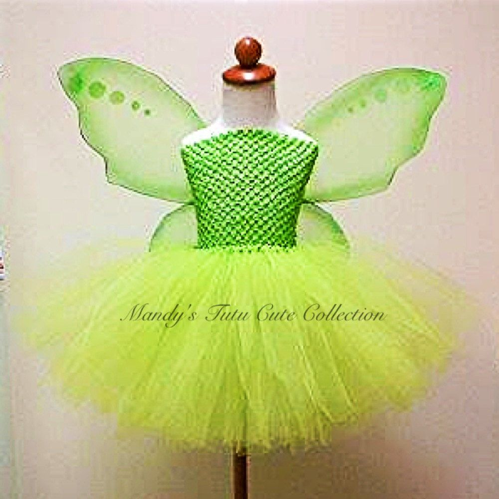 Tinkerbell Tutu Dress and fairy wings. size -Newborn- 10 years old ...