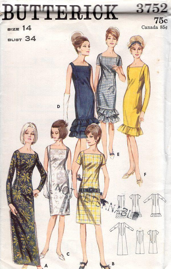 Free Us Ship Sewing Pattern Butterick 3752 Vintage Retro 1960s 60s ...