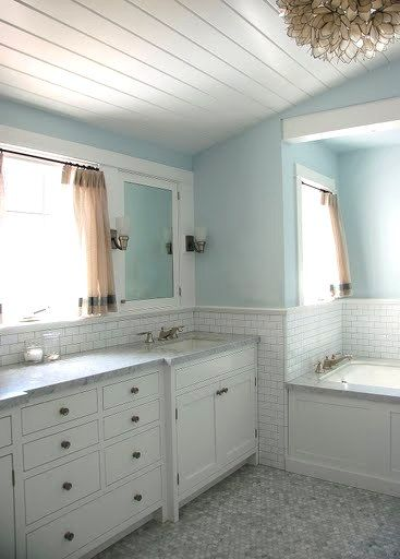 Bathroom By Kevin Oreck With Vaulted White Wood Plank Ceiling Capiz Shell Chandelier Light Blue Walls An Wood Plank Ceiling Master Bedroom Bathroom New Homes