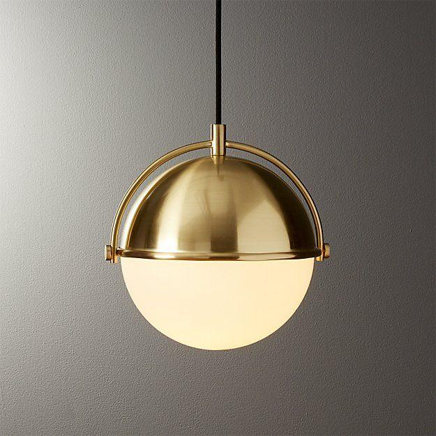 CB2 Globe Small Brass Pendant Light