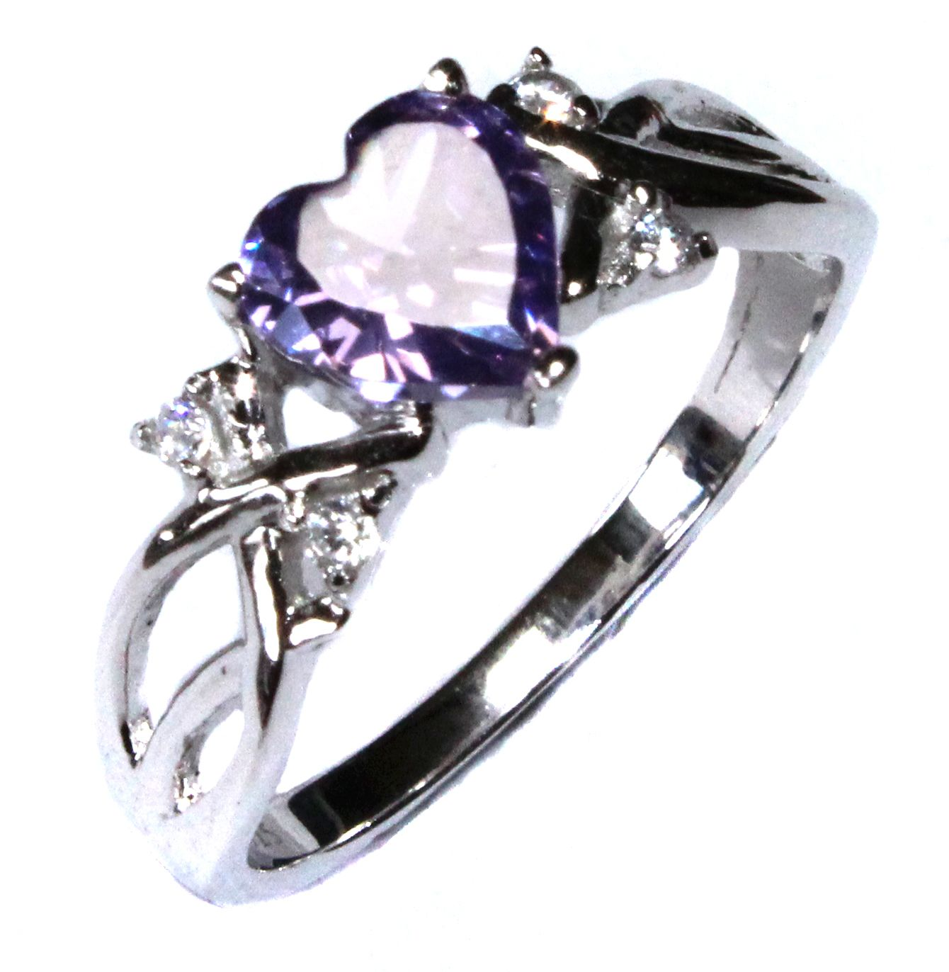 Amethyst (purple) Heart Shaped Promise Ring