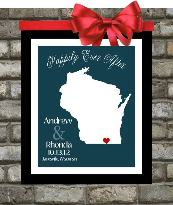 Personalized Wisconsin Wedding Gift Any City Or Milwaukee