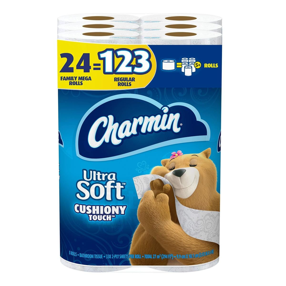 Charmin Ultra Soft Cushiony Touch Toilet Paper 24 Family Mega Rolls 123 Regular Rolls In 2020 Charmin Bath Tissue Room Deodorizer