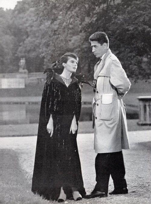 """Delphine Seyrig and director Alain Resnais on the set of """"L'année dernière à Marienbad"""" (1961)"""