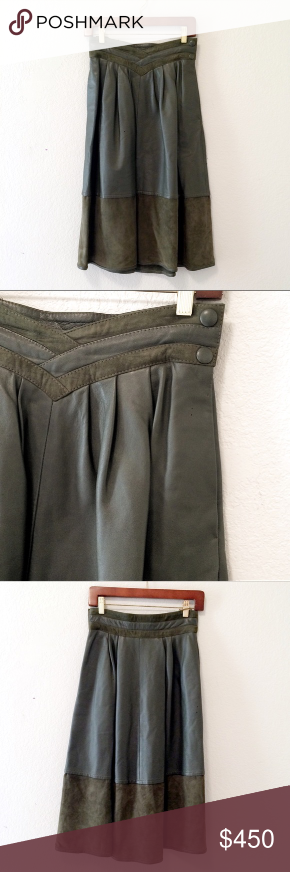 e518bad767 YSL Vintage green leather suede Midi skirt YSL Yves Saint Laurent Green leather  skirt high waist
