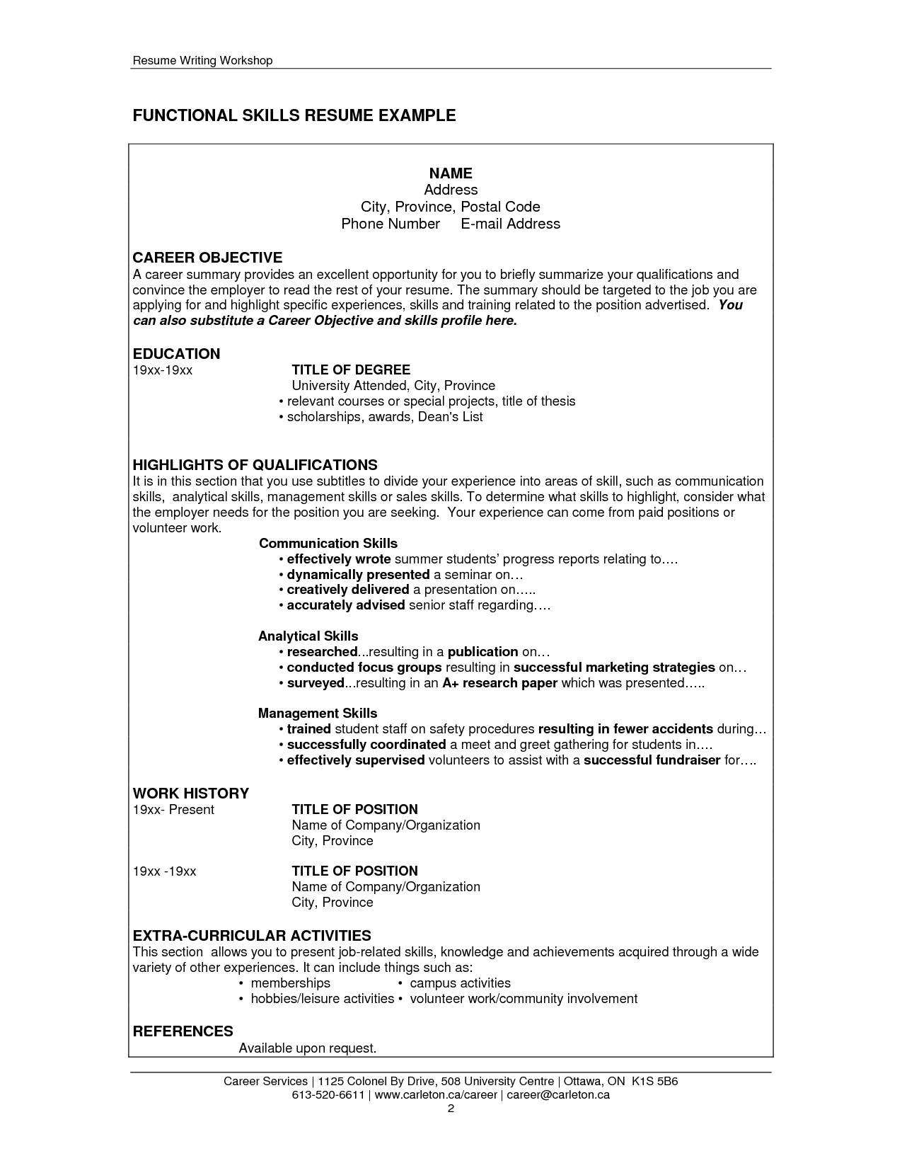 Example ...  Homemaker Resume Skills