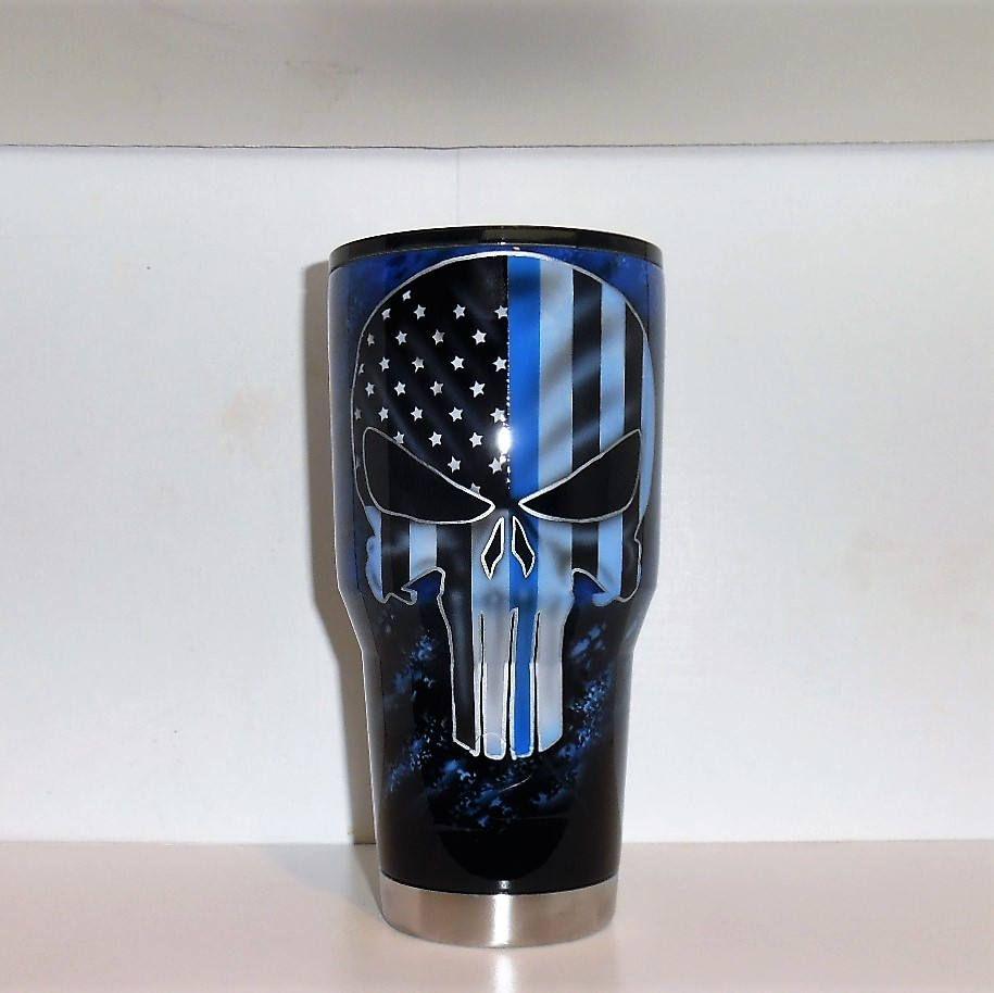 Thin Blue Line Yeti Tbl Punisher Mug Tbl Cup Police Gifts Tbl