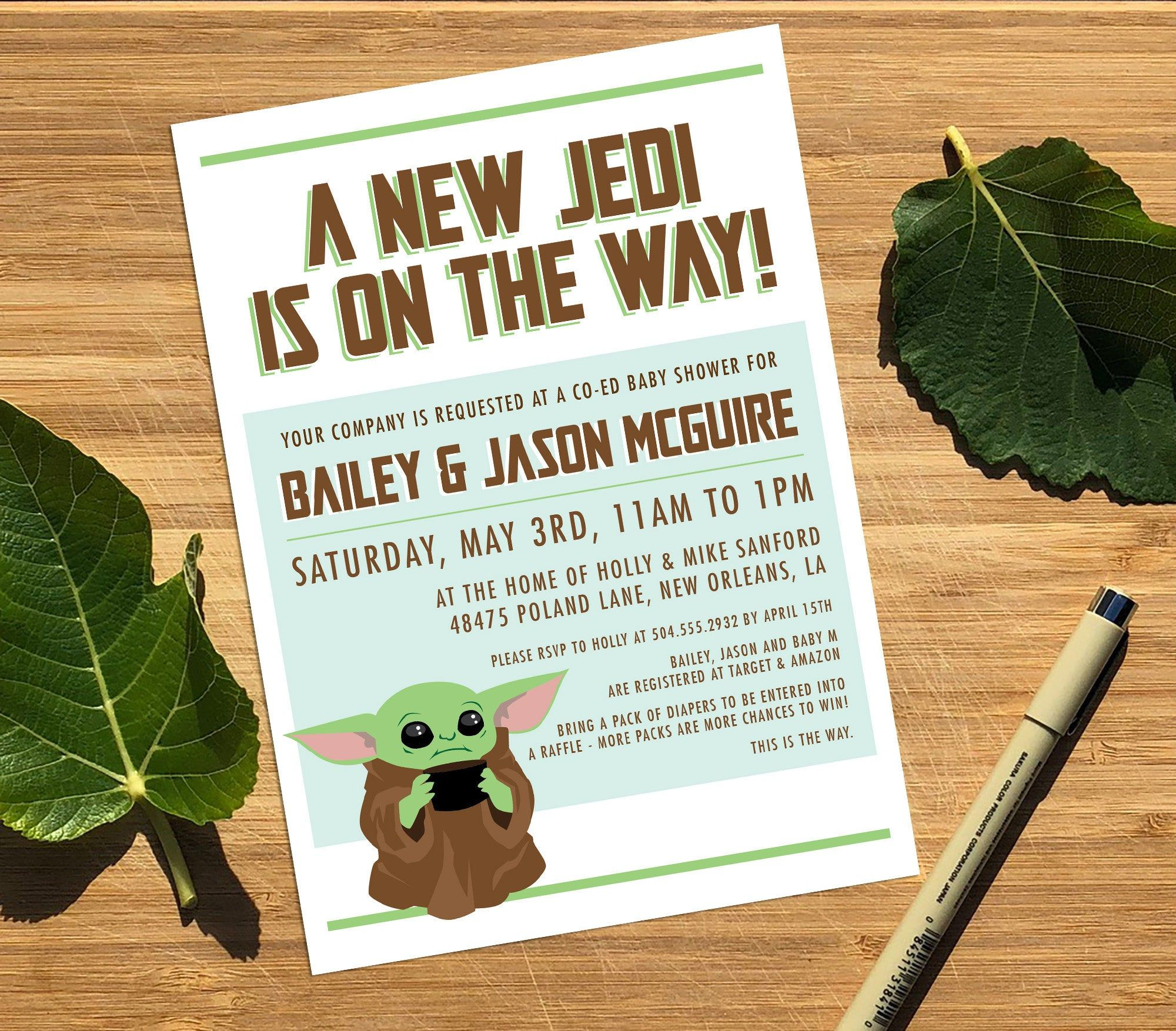 Baby Yoda Baby Shower Invitation Personalized Printable Baby Yoda Invitation Baby Yoda Invite Coed Baby Shower Baby Shower Invitations Shower Invitations