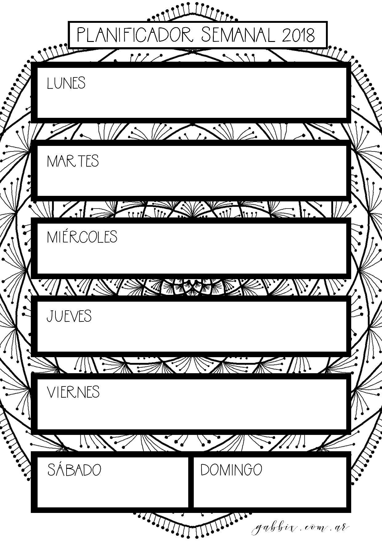 Planificador semanal Agenda 2018 con mandalas para colorear y listar ...