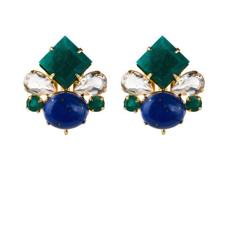 Emerald, Clear Quartz, & Lapis Stud Earrings