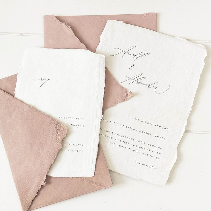 Rose and Cream Wedding Invitations  Handmade Paper Wedding Invitations  Letterpress Wedding Invitations  Fine Art Wedding  Botanical Wedding Invites  Wedding Save the Dat...