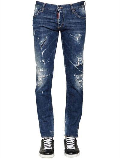 a712ea12736 DSQUARED2 17.5CM DISTRESSED STRETCH DENIM JEANS, BLUE. #dsquared2 #cloth # jeans