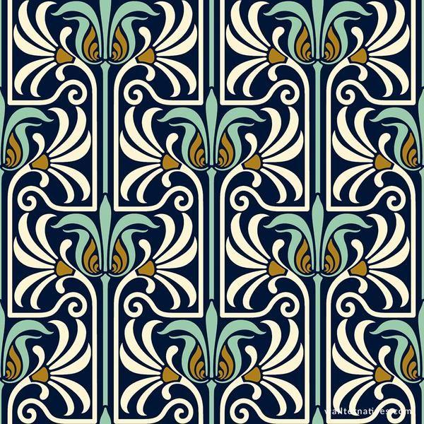 Art Nouveau Feather Damask Removable Wallpaper