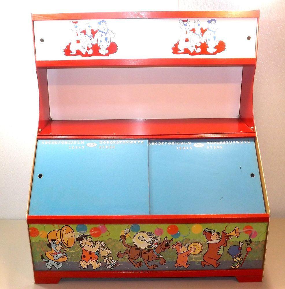 Vintage Aft Toys Hanna Barbera Masonite Childs Desk Toy Box 18x32x36 Flintstones Desk Toys Toy Boxes Toys
