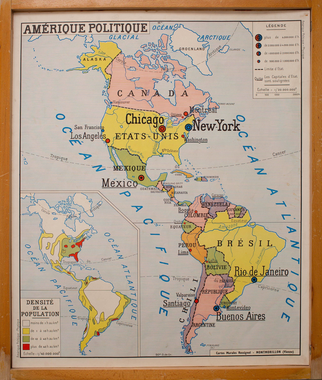 Carte De Geographie Vintage Affiche Scolaire Double Face Des