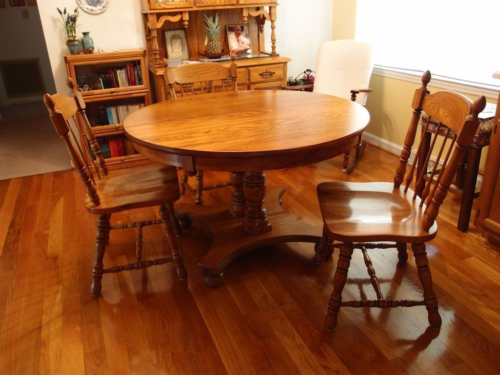 Solid Oak Dining Room Set China Buffet Table With Extension And