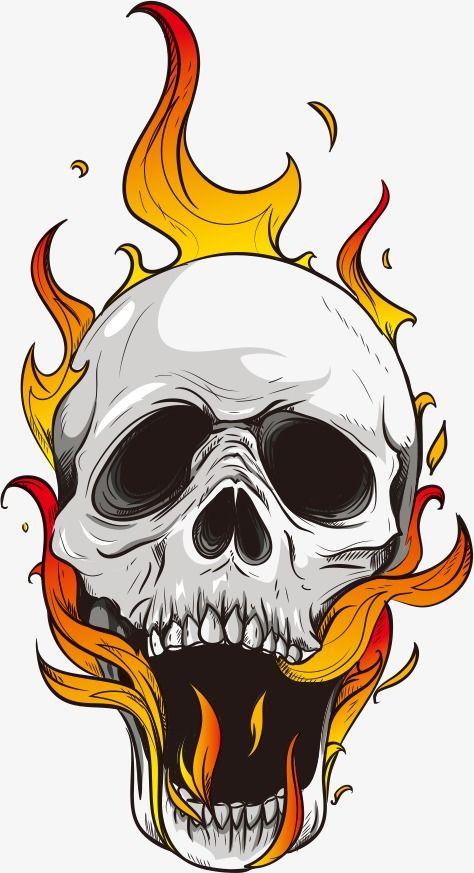 Vector Craneo Y Llamas Png Y Vector Skull Art Drawing Skull Skull Artwork