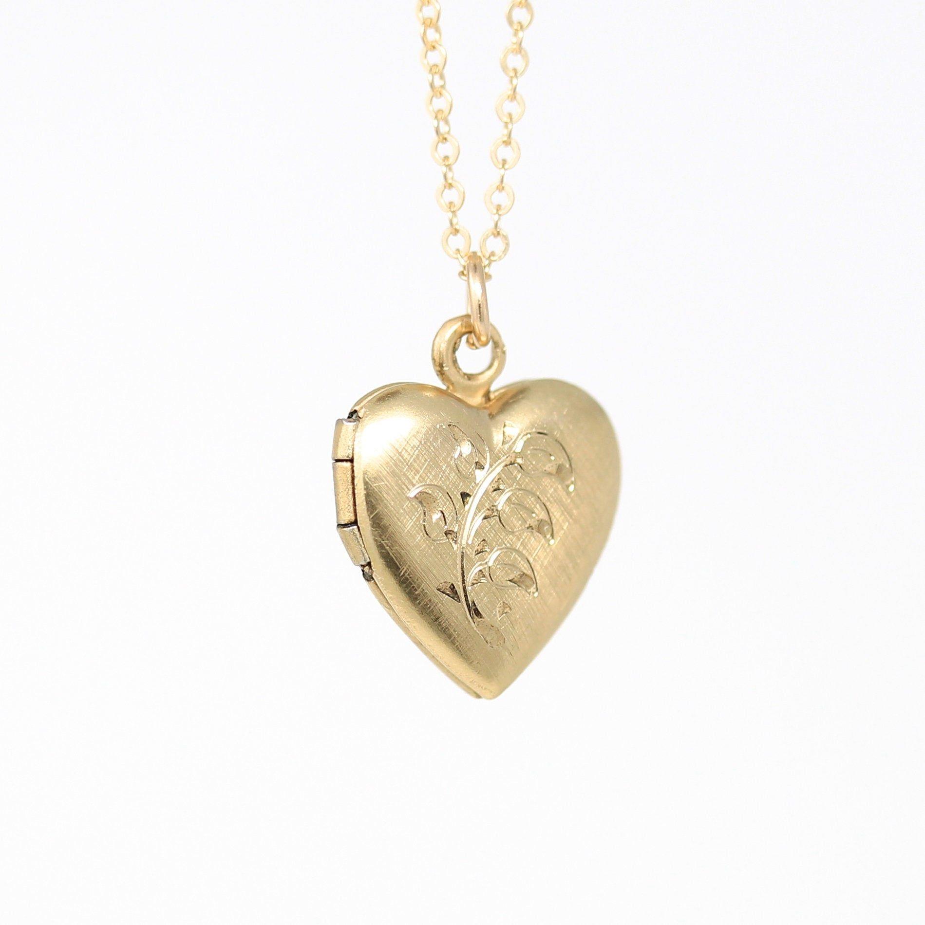 small locket vintage gold filled round locket small petite floral locket Vintage locket