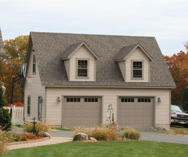Car Garage Loft Retro Style: 24' X 30' Elite Cape Garage: Vinyl Siding, Carriage Style