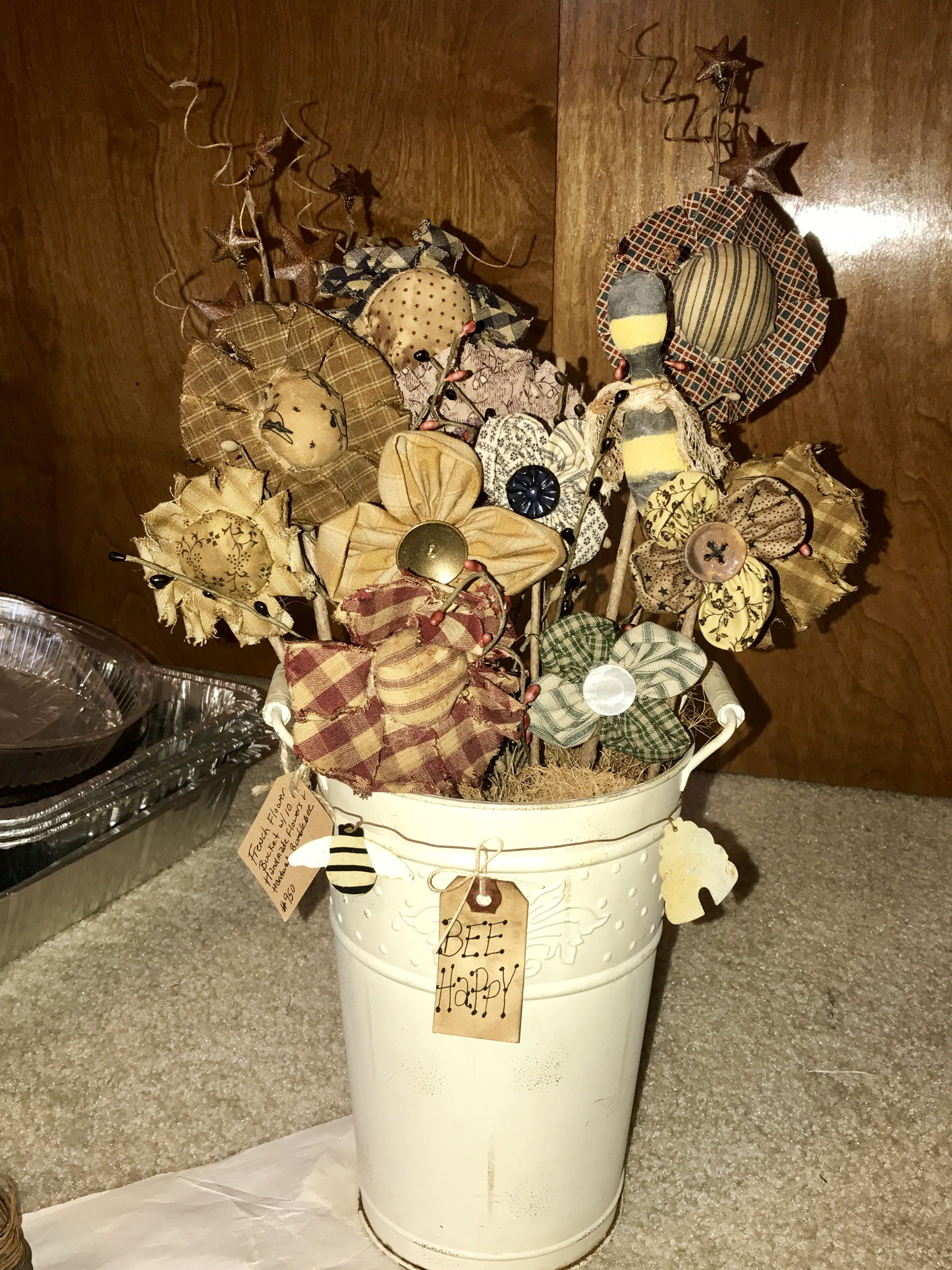 primitive home decor and more cheap home decor.htm handmade flowers in french flower bucket  made by cindys  handmade flowers in french flower