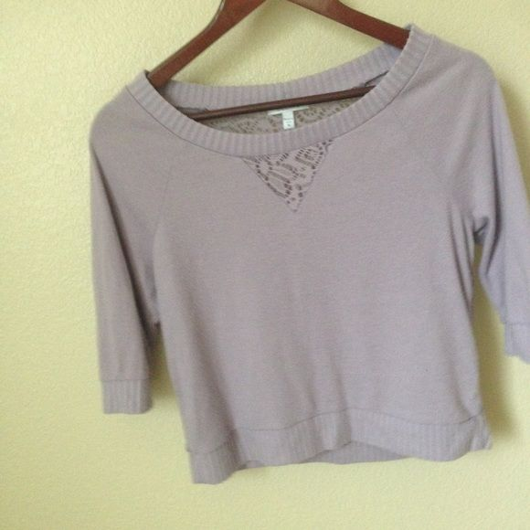 Purple Sweater Shirt cool medium purple color sweater shirt, weaved back Delias Tops