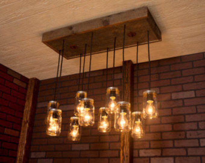 Pendant Light/ Rustic wood chandelier/ Mason Jar Chandelier/ Reclaimed Wood and 3 Pendants. R-1434-CMJ-3/ Mason Jar Lights #jarchandelier