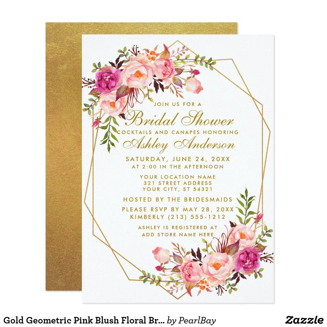 Gold Geometric Pink Blush Floral Bridal Shower Invitation zAZZLE.COM.AU… |  Geometric wedding invitation, Gold bridal shower invitations, Floral  wedding invitations