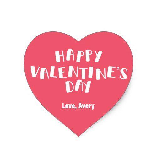 Pink Happy Valentine\'s Day Heart Sticker | Valentine\' Day Ideas ...