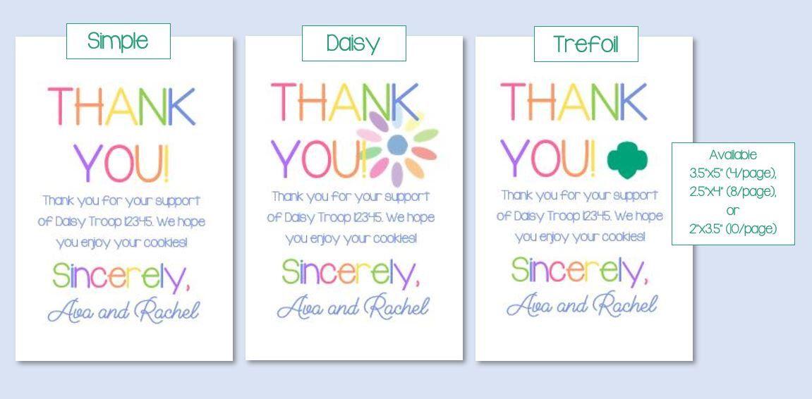 CUSTOM DOWNLOAD Rainbow Girl Scout Cookies Thank You Card