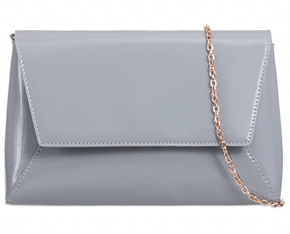 4b116d3beba7 Grey glossy faux patent leather envelope style clutch bag shoulder bag The  bag has a detachable