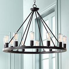 round black chandelier distressed black wood lacey 30
