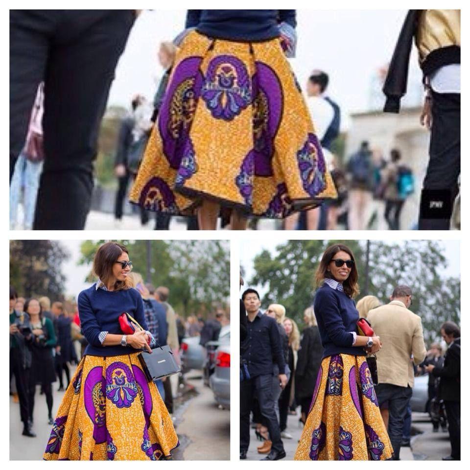 Viviana Volpicella wearing Stella Jean skirt!