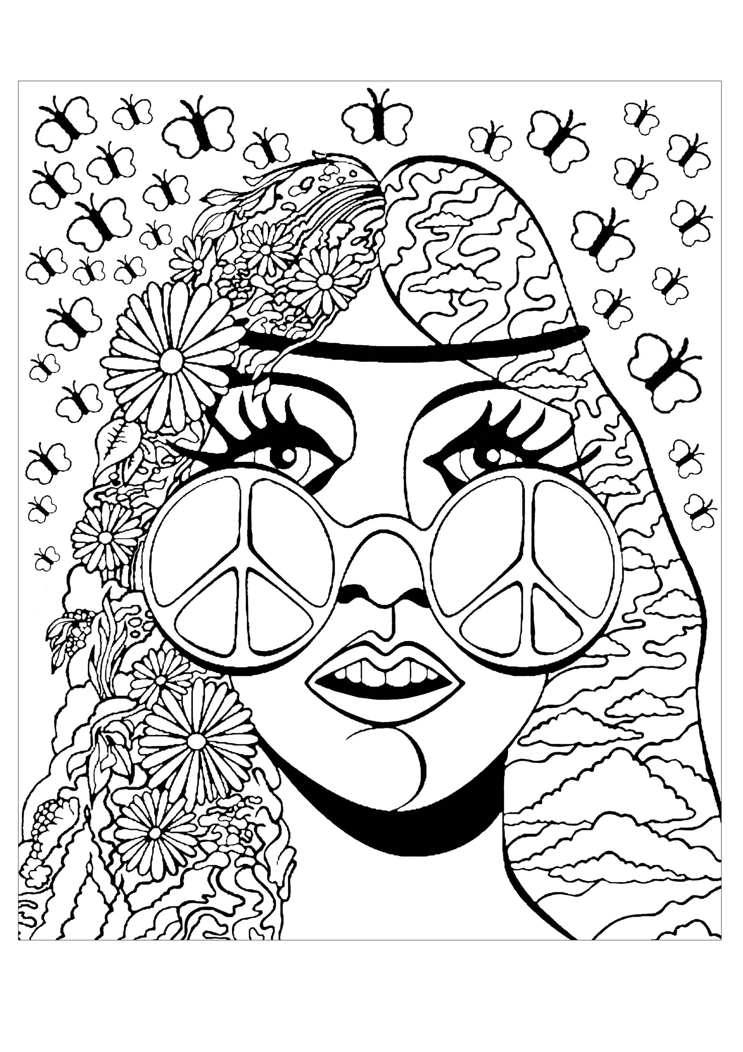 Psychedelic girl butterflies - Psychedelic Coloring Pages ...